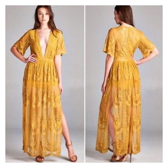 47928d946f9e Honey Punch Dresses   Skirts - Honey Punch Mustard Lace Maxi Dress